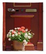 Entrance Door With Flowers Fleece Blanket