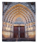 Entrance To The Barcelona Cathedral At Night Fleece Blanket