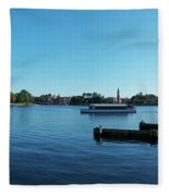 Epcot World Showcase Lagoon Panorama 01 Walt Disney World Fleece Blanket