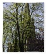 Episcopal Cathedral In Edinburgh Visible Through Trees Fleece Blanket