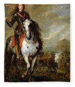 Equestrian Portrait Of Prince Eugene De Savoie 1663-1736 C.1700-10 Oil On Panel Fleece Blanket