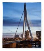 Erasmus Bridge And City Skyline Of Rotterdam At Dusk Fleece Blanket