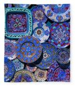 Erice Italy Plates Blue Fleece Blanket