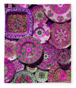 Erice Sicily Plates Pink Fleece Blanket