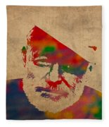 Ernest Hemingway Watercolor Portrait On Worn Distressed Canvas Fleece Blanket