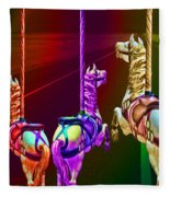 Escape Of The Carousel Horses Fleece Blanket