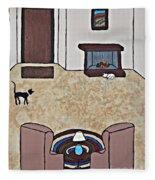 Essence Of Home - Black And White Cat In Living Room Fleece Blanket