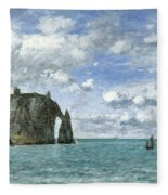 Etretat. The Cliff Of Aval Fleece Blanket