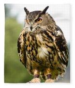 Eurasian Eagle Owl On Log Fleece Blanket