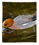 Eurasian Wigeon Feeding Fleece Blanket