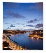Evening At Douro River In Portugal Fleece Blanket