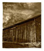 Evening Barn Sepia Fleece Blanket