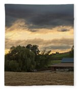 Evening Farm Scene Near Ashland Fleece Blanket