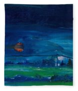 Evening Landscape Oil On Canvas Fleece Blanket