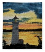 Evening Lighthouse In Stained Glass Fleece Blanket