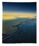 Evening Ocean Shore From The Airplane Window Fleece Blanket