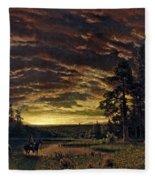 Evening On The Prairie Fleece Blanket
