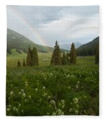 Evening Rainbow In The Rocky Mountains Fleece Blanket