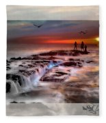 Evening Stroll At The Beach -featured In 'cards For All Occasions'comfortable Art'  'digital Veil Fleece Blanket