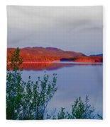 Evening Sun Glow On Calm Twin Lakes Yukon Canada Fleece Blanket