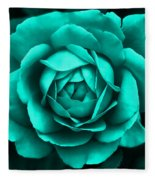 Evening Teal Rose Flower Fleece Blanket