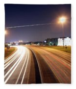 Evening Traffic On Highway Fleece Blanket