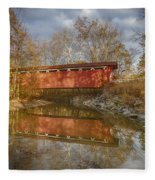 Everett Rd. Covered Bridge In Fall Fleece Blanket