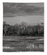 Everglades Panorama Bw Fleece Blanket