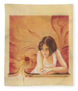 Everyday Angel With Flower Fleece Blanket