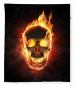 Evil Skull In Flames And Smoke Fleece Blanket