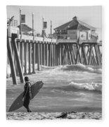Existential Surfing At Huntington Beach Fleece Blanket