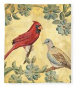 Exotic Bird Floral And Vine 2 Fleece Blanket