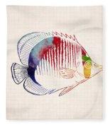 Exotic Tropical Fish Drawing Fleece Blanket