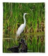 Exquisite Egret Fleece Blanket