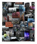 Eyes Down From The 103rd Floor Collage Fleece Blanket