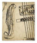 F Hole Line Drawing Fleece Blanket