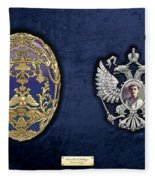 Faberge Tsarevich Egg With Surprise On Blue Velvet Fleece Blanket