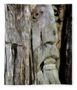 Face In The Forest Fleece Blanket