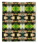 Face In The Stained Glass Tiled Fleece Blanket