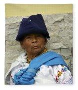 Face Of Ecuador Woman At Cotacachi Fleece Blanket