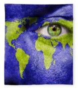 Face The World Map Fleece Blanket