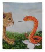 Face To Face Were A Lion And Snake Fleece Blanket