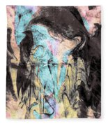 Faceless Girl With Her Crow Fleece Blanket