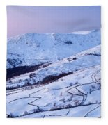 Fairfield Covered In Snow At Sunset Fleece Blanket