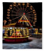Fairground At Night Fleece Blanket