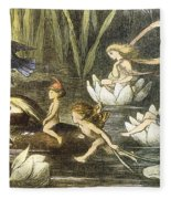 Fairies And Water Lilies Circa 1870 Fleece Blanket