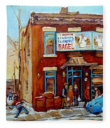 Fairmount Bagel In Winter Montreal City Scene Fleece Blanket