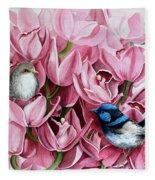 Fairy Wrens And Orchids Fleece Blanket