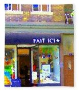 Fait Ici Organic General Store Notre Dame Corner Charlevoix St Henri Shops City Scene Carole Spandau Fleece Blanket
