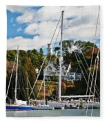 Fall And The Sailboats Fleece Blanket